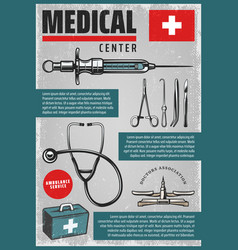 vintage colored medical poster vector image