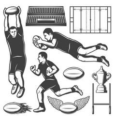 Vintage rugby sport elements set vector