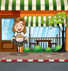 Waitress serving hot coffee at the shop vector image