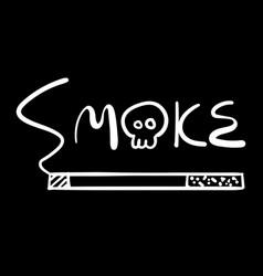 White hand writing smoke word vector
