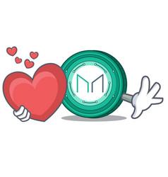 With heart maker coin mascot cartoon vector
