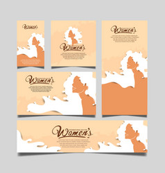 Women day design with woman white hair on brown vector