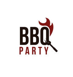 Word mark barbeque with fork on q and fire logo vector