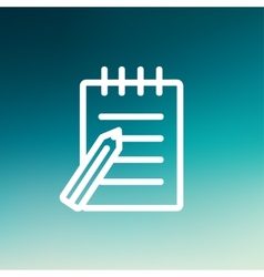 Writing pad and pen thin line icon vector image