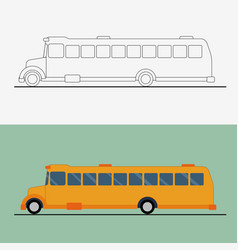 Yellow flat school bus bus vector