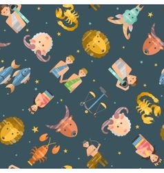 Zodiac icons seamless pattern vector