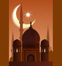 arab islamic architecture mosque moonlit night vector image vector image