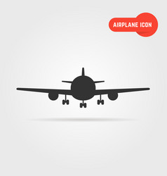 black airplane icon with shadow vector image vector image