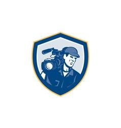 Cameraman Film Crew HD Camera Video Shield Retro vector image