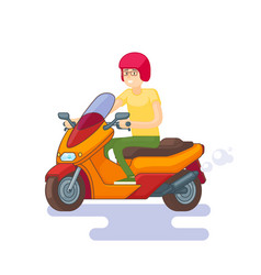 colorful scooter flat concept vector image vector image