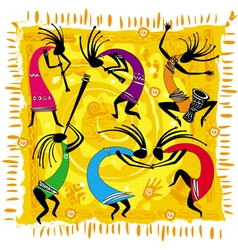dancing figures on an orange background vector image