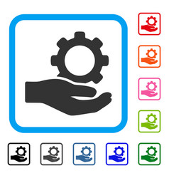 engineering service gear hand framed icon vector image vector image