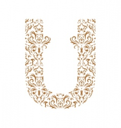 floral letter u ornament font vector image vector image