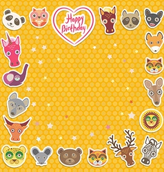 Funny Animals Happy birthday orange Polka dot vector image