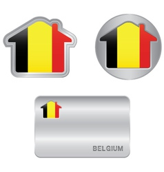 Home icon on the Belgium flag vector image vector image