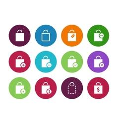 Shopping bag circle icons on white background vector image