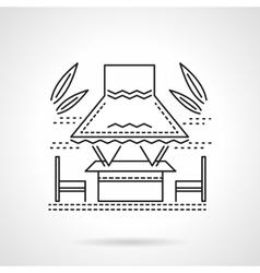 Tropical gazebo flat line icon vector image vector image