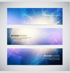 banners set with polygonal abstract shapes vector image