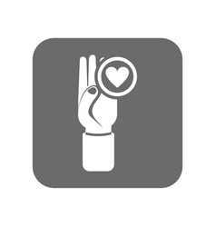 customer service icon with hand up sign vector image