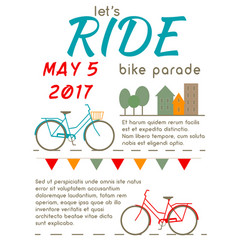 lets ride - bike parade poster vector image vector image