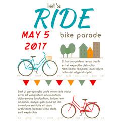 lets ride - bike parade poster vector image