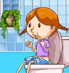 Little girl using toilet vector image vector image