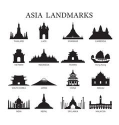 Asia landmarks architecture building silhouette vector