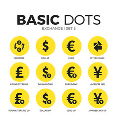 exchange flat icons set vector image vector image