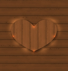 Heart for Valentine Day on wooden texture vector image vector image