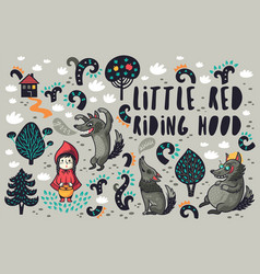 Cute little girl and gray hungry wolves in the vector
