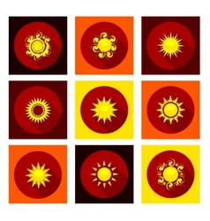 Sun icons set in flat style vector image vector image