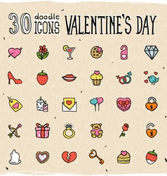 30 Colorful Doodle Valentines Day Icons vector
