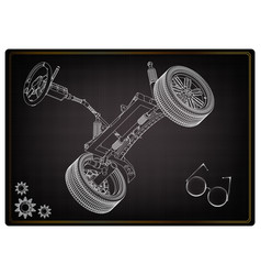 3d model steering column and car suspension vector