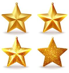 A set of shiny golden Christmas tree toys vector