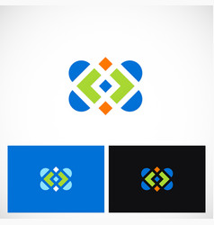 abstract color square ornament logo vector image