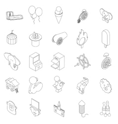Amusement park icons set isometric 3d style vector