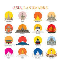 Asia landmarks architecture building icons set vector