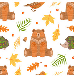 autumn forest seamless pattern colorful fall vector image