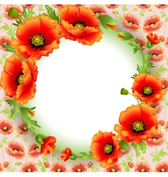 Background frame with poppies in a circle and plac vector