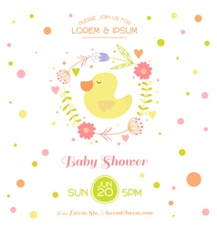 Bashower card - with cute duck vector