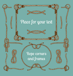 big set of vintage ropes corners and frames vector image