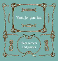 big set vintage ropes corners and frames vector image