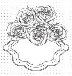 Black and White Vintage Roses Frame vector