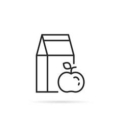 black linear school lunch icon vector image