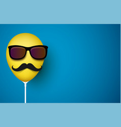 Blue background with yellow balloon with mustache vector