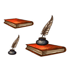 Book with old feather pen and inkwell sketch vector