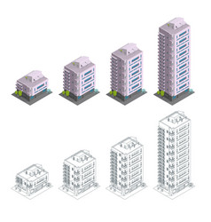 Building phases of construction modern town vector