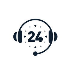call center 24 hrs icon vector image