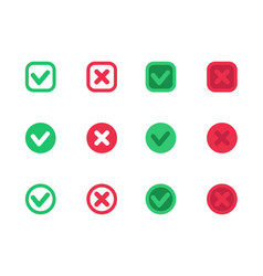 check marks ticks crosses red and green vector image