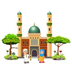 Children are holding ramadhan lantern vector